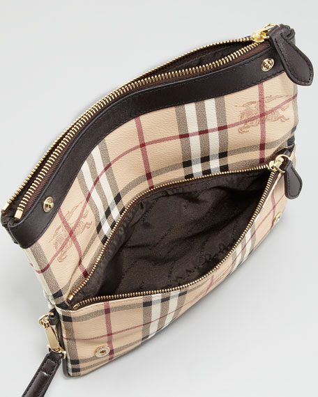 Leather-Trim Check Wristlet