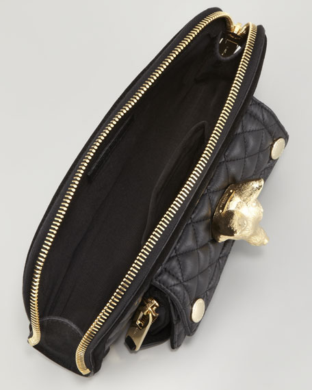 Quilted Calfskin Fox Clutch Bag, Black