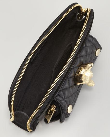 Quilted Calfskin Fox Clutch Bag, Black