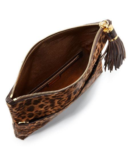Large Tonne Calf-Hair Foldover Clutch Bag