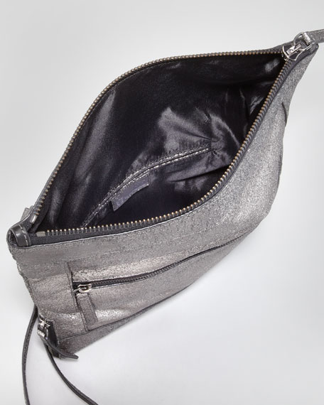 Metallic Unzipped Fold-Over Messenger Bag