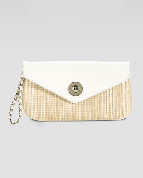 Jitney Straw & Patent Clutch Bag
