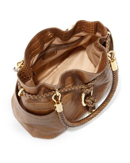 Skorpios Crocodile-Embossed Drawstring Satchel Bag