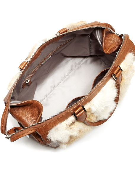 Barrington Large Fur Zipper Satchel Bag