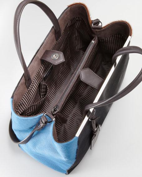 2Jours Calf Hair Tote Bag, Black/Sugar Paper