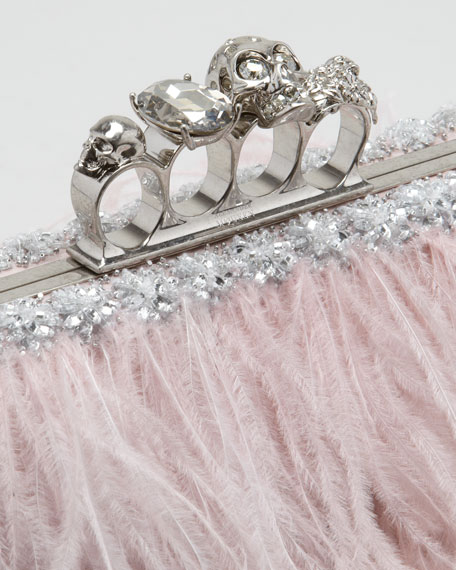 Knuckle-Duster Ostrich Feather Clutch Bag