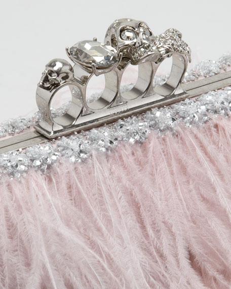 Alexander McQueen Knuckle-Duster Ostrich Feather Clutch Bag