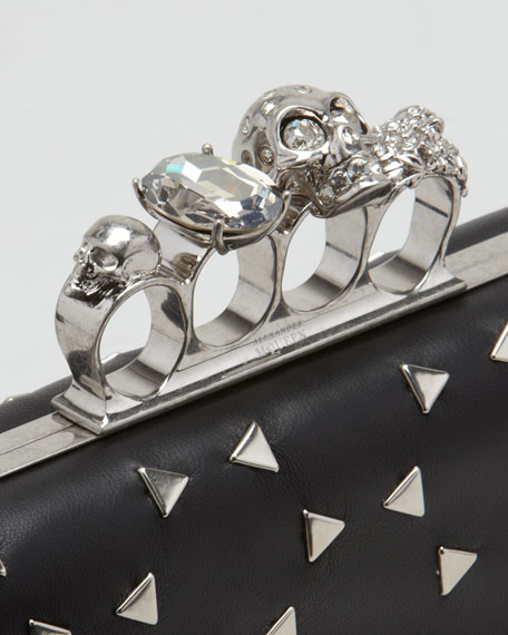 Triangle-Studded Knuckle-Duster Clutch Bag