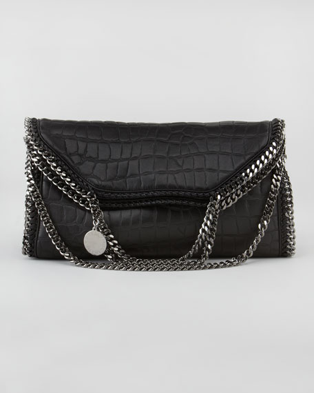 Crocodile-Embossed Fold-Over Falabella Tote Bag, Black