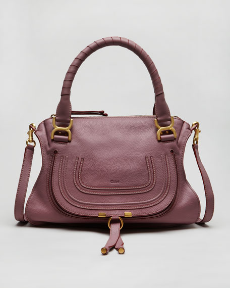 Pebbled Leather Marcie Satchel Bag