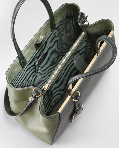 2Jours Calfskin Tote Bag, Forest Green