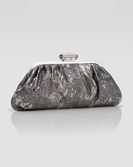 Devin Metallic Leather Clutch Bag