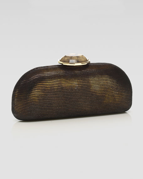 Olivia Domed Rectangle Clutch Bag, Gold