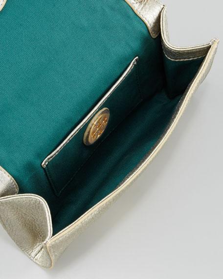 Logo-Perforated Leather Clutch Bag, Light Platinum