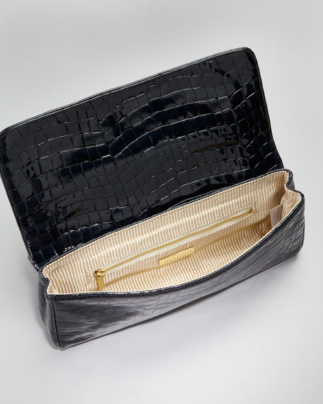 Caroline Shadow-Patent Clutch Bag