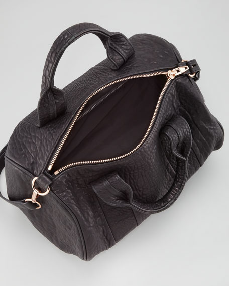 Rocco Stud-Bottom Satchel Duffel Bag, Black/Rose Golden