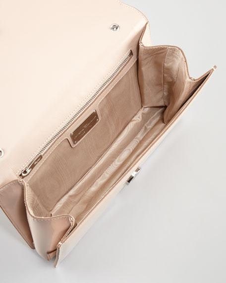 Vara Ginny Patent Flap Shoulder Bag, Rose