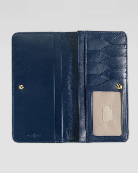 Slim Fold-Over Wallet, Blue