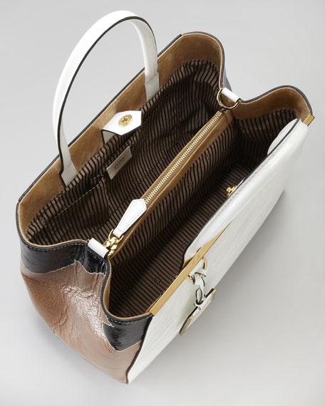 2Jours Patent Calfskin Medium Tote Bag