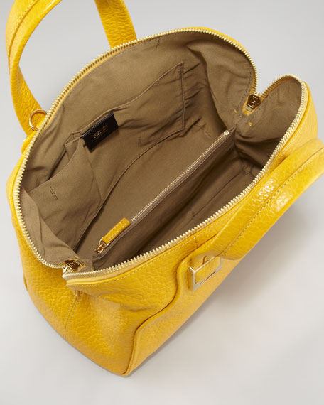 Chameleon Small Pebbled Bag, Sunflower/Satin