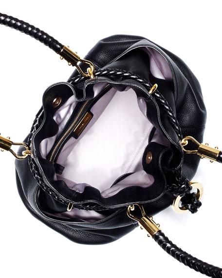 Skorpios Pebbled Leather Drawstring Satchel Bag