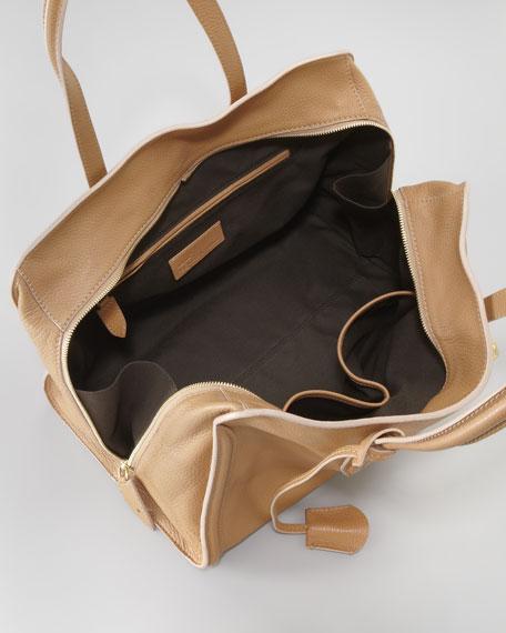 New Skull Padlock Zip-Around Tote Bag, Burnt Camel