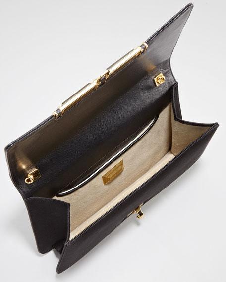 Priscilla Sequined Clutch Bag, Black/Gold