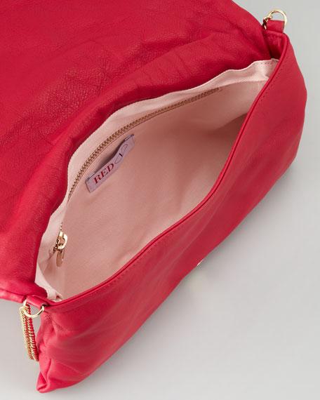 Bow Clutch Shoulder Bag, Cherry
