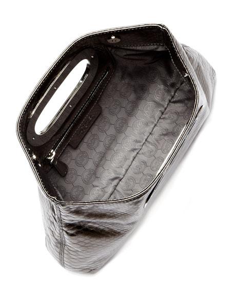 Berkley Metallic Python-Embossed Clutch Bag