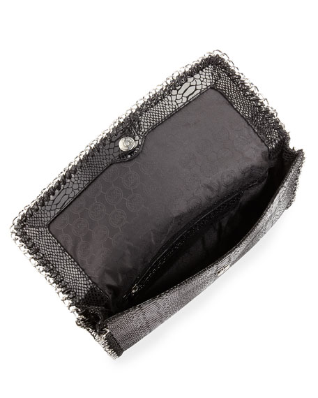 Oversize Chelsea Python-Embossed Clutch Bag