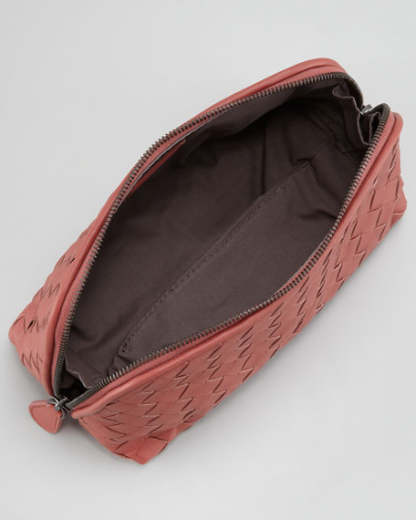 Woven Leather Medium Cosmetic Case, Coral