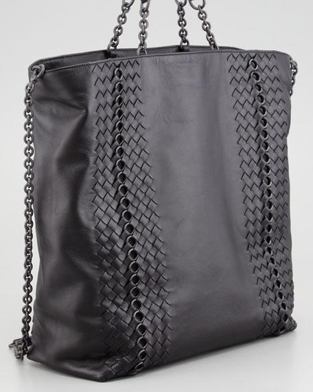 Napa Leather Circle-Link Tote Bag, Black