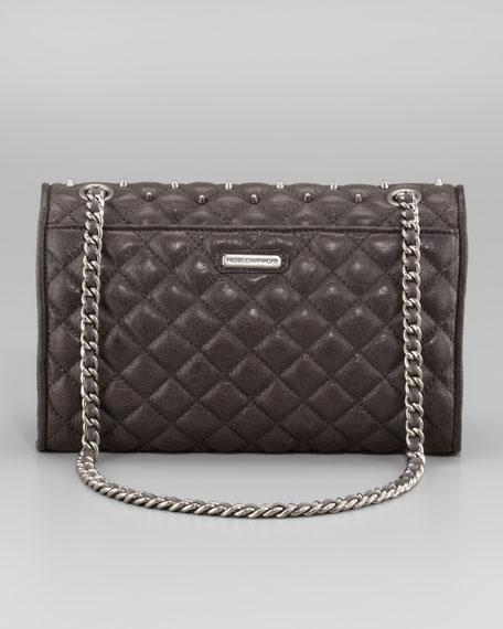 Diamond Quilt Stud Affair Bag, Charcoal