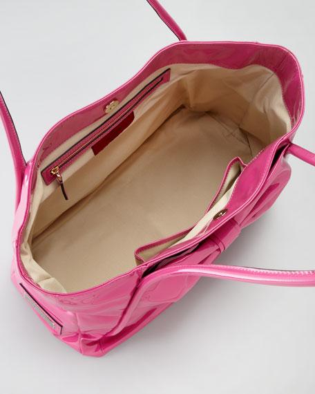 Valentino Betty Lacca Bow Tote Bag, Pop Fuchsia