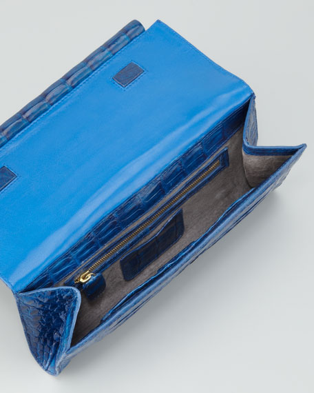 Front-Flap Crocodile Bar Clutch Bag, Cobalt Shiny