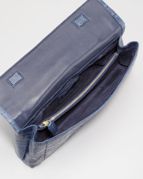Flap-Top Crocodile Clutch Bag, Navy