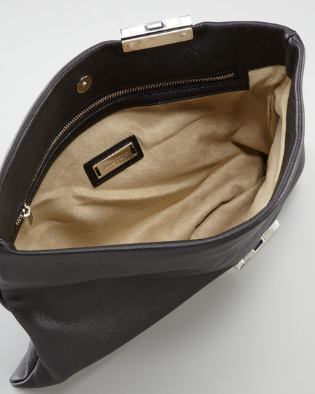 Chandra Chain Leather Clutch Bag, Black