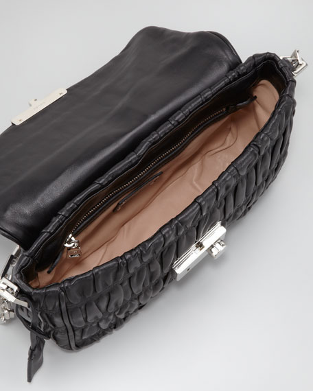 Napa Gaufre Chain Shoulder Bag, Nero