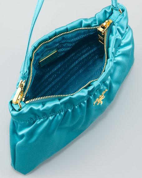 Ruched Satin Small Shoulder Bag, Pavone
