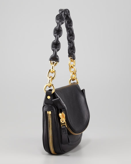 Jennifer Black Calfskin Maxi-Chain Shoulder Bag