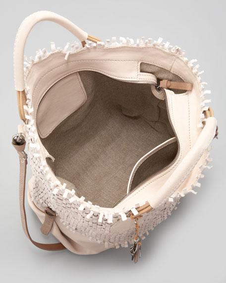 Woven Leather Shoulder Tote, Cream