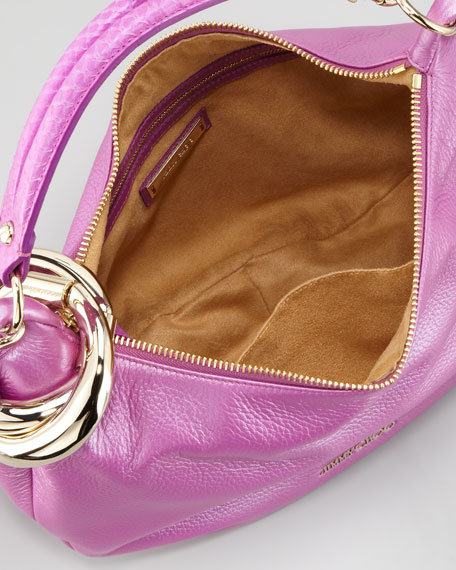 Solar Small Metallic Hobo Bag, Orchid