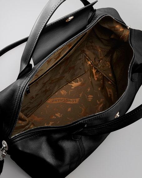 Le Pliage Cuir Medium Handbag with Strap, Black