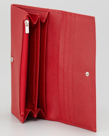 Veau Foulounne Continental Wallet, Vermillion