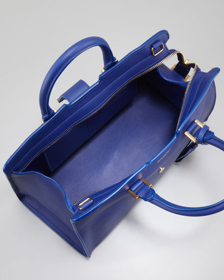 Y Ligne Cuir Gras Mini Bag, Blue