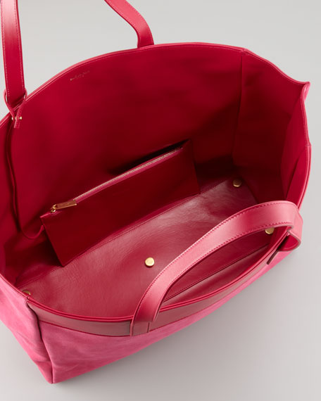Reversible Leather/Suede East-West Tote Bag, Fuchsia