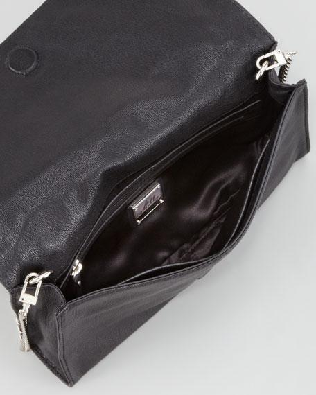 Chain-Strap Leather Clutch Bag, Black/Tan