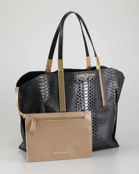Danes Dry Python-Print Small Shopper Bag, Black