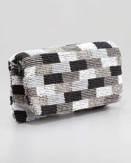 Beaded Fold-Over Clutch Bag, Black/White