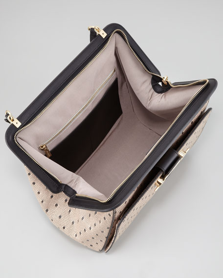 Daphne Lace-Print Leather Satchel Bag, Nude/Black